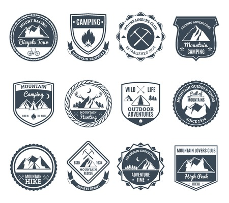 adventures: Mountain adventure and wild nature exploration emblems black set isolated vector illustration