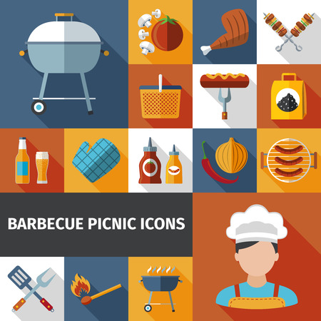grill meat: Family weekend barbeque picnic flat icons set with bbq grill and meat with beer abstract vector illustration