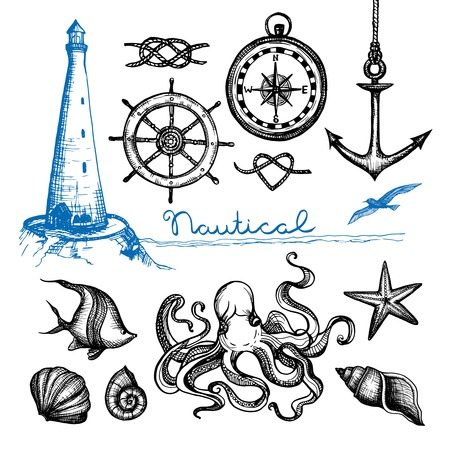Nautical symbols and sea life hand drawn set isolated vector illustration