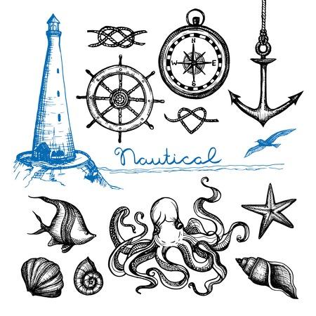 Símbolos náuticos y de la mano de la vida marina dibujado conjunto aislado ilustración vectorial Foto de archivo - 44437249