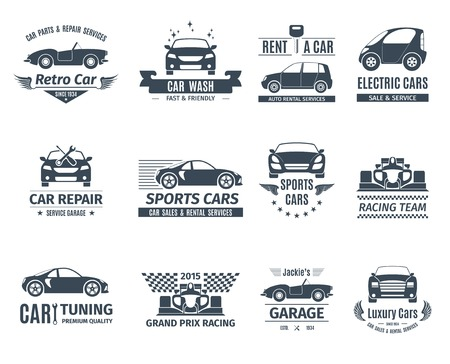 Car and auto service logo set black isolated vector illustration