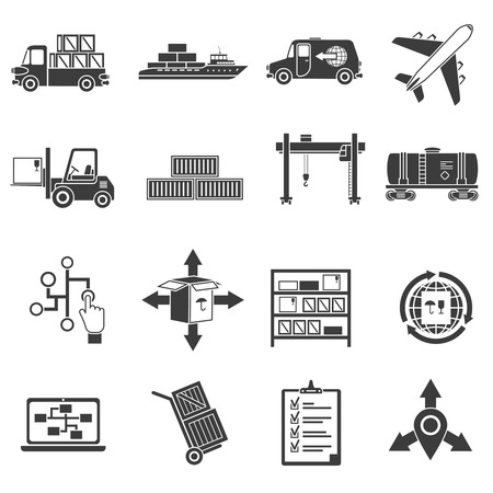 global logistics: Logistic package and freight black icons set isolated vector illustration