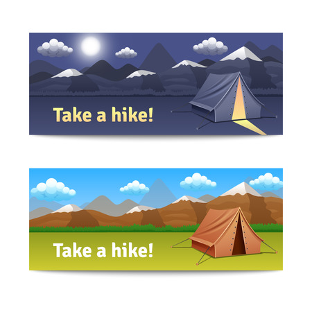 hike: Adventure and hike realistic horizontal banners set with tent and mountains isolated vector illustration