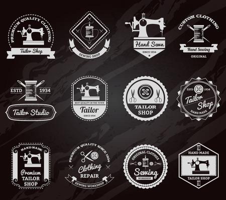Retro Schneiderei für die Messungen von kundenspezifischen Kleidung Tafel gemacht Embleme Etiketten gesetzt abstrakten isolierten Vektor-Illustration