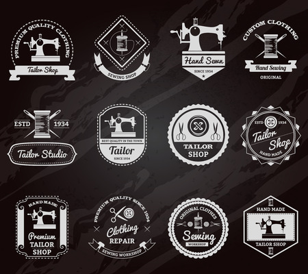 Retro tailor shop for made to measurements custom clothes chalkboard emblems labels set abstract isolated vector illustration