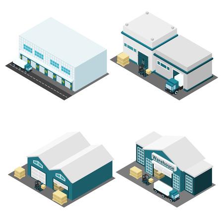 창고 건물의 아이소 메트릭 아이콘 트럭 상자와도 절연 벡터 일러스트 레이 션 설정