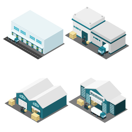 warehouse: Warehouse building isometric icons set with truck boxes and road isolated vector illustration
