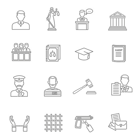 Heist robbers safety and police court lawyer and justice flat outline icon set isolated vector illustration