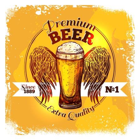 cerveza: Prima la calidad de la cerveza con el vidrio del bosquejo de la bebida con la ilustración del vector del ornamento