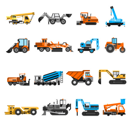 hydraulic platform: Construction machines and engineering icons set with excavator and roller flat isolated vector illustration Vectores