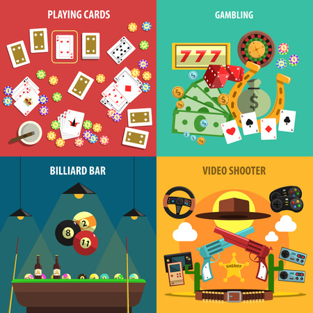 playing games: Playing games square banners set with cards gambling billiards and video flat isolated vector illustration
