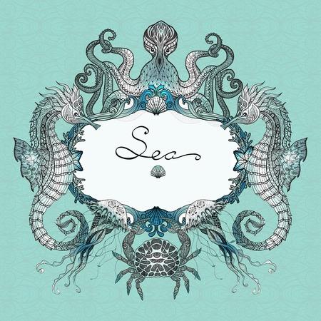 mare agitato: Mare distintivo vita con disegnata a mano polpo granchio e gelatina di pesce illustrazione vettoriale