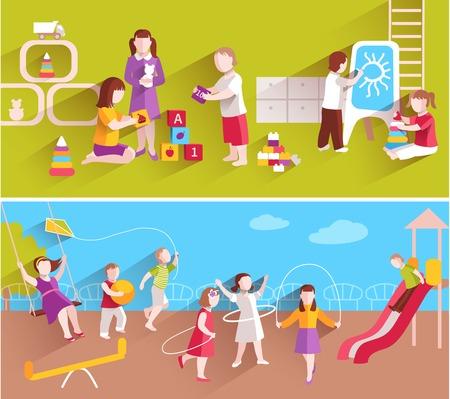 niños jugando en la escuela: Los niños de jardín de infantes que juegan en el suelo y en el interior horizontal Conjunto de la bandera aislado ilustración vectorial