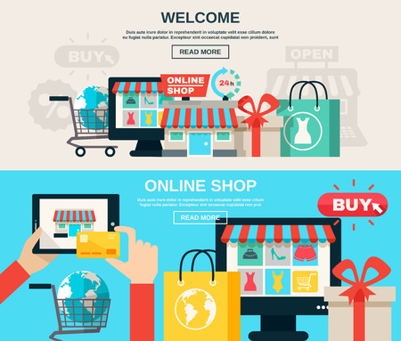 shopping baskets: Welcome online shop or web market and buy online flat color horizontal banner set isolated vector illustration