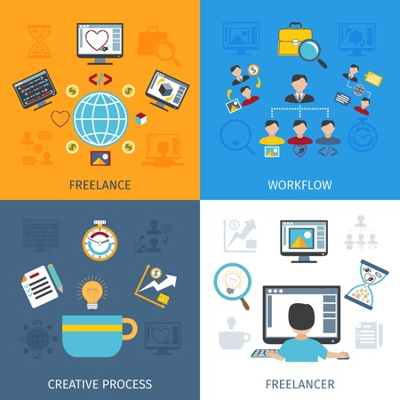 phone business: Freelancer design concept set with freelancer workflow and creative process flat icons isolated vector illustration