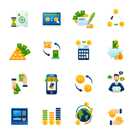 automat: Remote foreign currency paying and exchange with internet computer banking system flat icons set abstract vector illustration