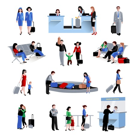 baggage: People in airport lounge flat icons set isolated vector illustration