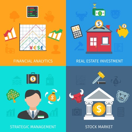 strategic management: Investment design concept set with financial analytics and strategic management flat icons isolated vector illustration