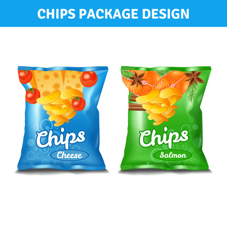 chips: Chips color pack design for cheese and salmon tastes realistic isolated vector illustration