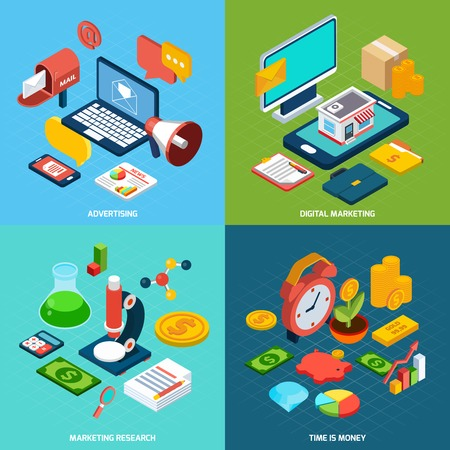 advertising network: Digital marketing design concept set with advertising research isometric icons isolated vector illustration Illustration