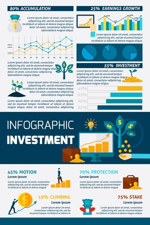 turnover: Investment statistic grows climbing motion and stake protection or accumulation flat color infographics vector illustration Illustration