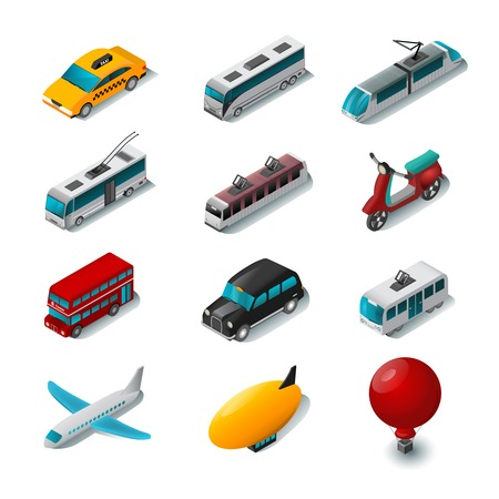 transporte: Transportes p�blicos �cones isom�tricos definir com bonde scooter de desenhos animados e t�xi carro isolado ilustra��o vetorial