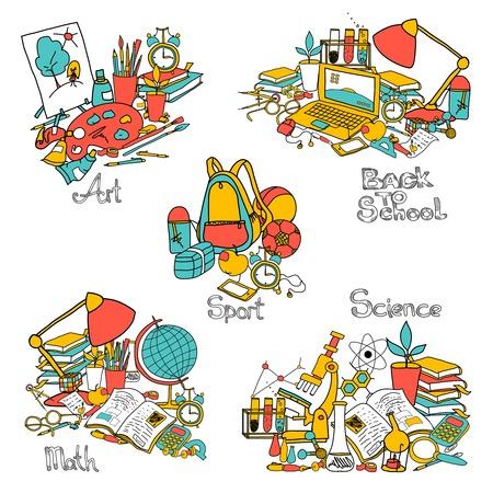 Terug naar school-concept decoratieve set met geïsoleerde doodle onderwijs elementen vector illustratie