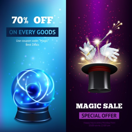 mago: Banderas Magia conjunto vertical con esfera de cristal y mago sombrero aislado ilustración vectorial