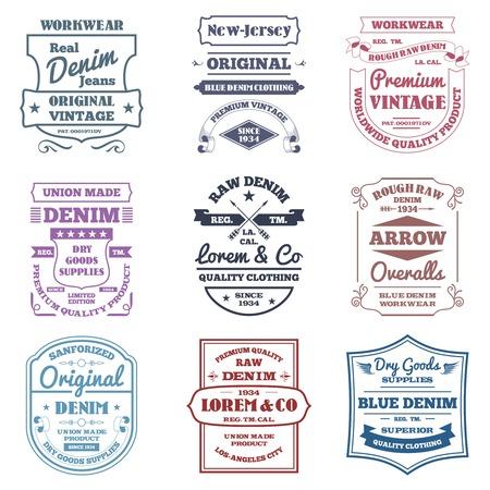 Denim typografie emblemen premium kwaliteit werkkleding labels set geïsoleerde vector illustratie