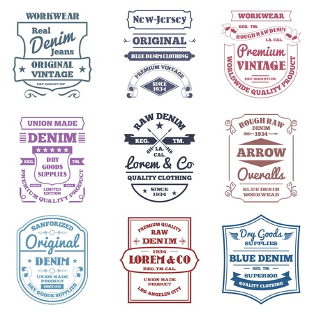 Denim typography emblems premium quality work wear labels set isolated vector illustration