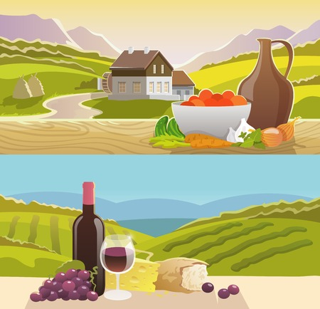wine and cheese: Mountain landscape horizontal banner set with wine and vegetables still life flat elements isolated vector illustration