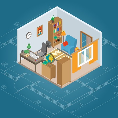 work on computer: Isometric cabinet interior with 3d work computer and furniture vector illustration Illustration