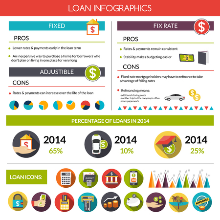 loan: Loan infographics set with financial instruments symbols and charts vector illustration