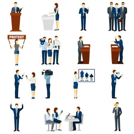 caudillo: Partidos políticos programas líderes discursos transmitidos y procedimientos electorales democráticos pictogramas conjunto abstracto ilustración vectorial aislado plana Vectores