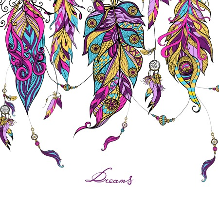 ink art: Ethnic dreamcatcher feathers with sketch abstract colored ornament vector illustration