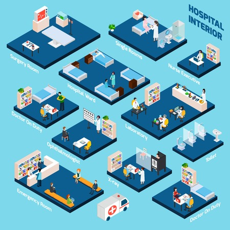 exam room: Isometric hospital interior with 3d health care personnel isometric vector illustration