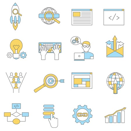web site: Web site design development icons line set isolated vector illustration Illustration