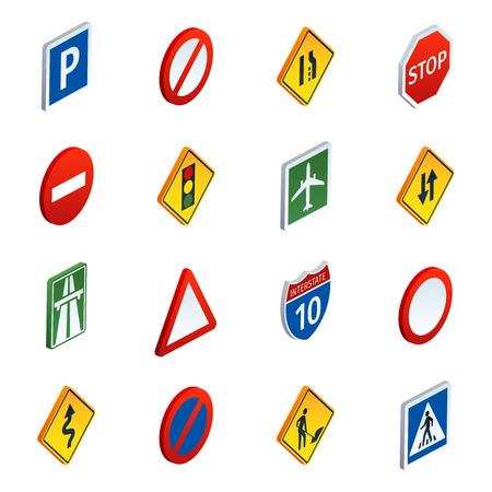 Common road traffic regulatory and warning signs symbols to learn  isometric icons set abstract vector illustration