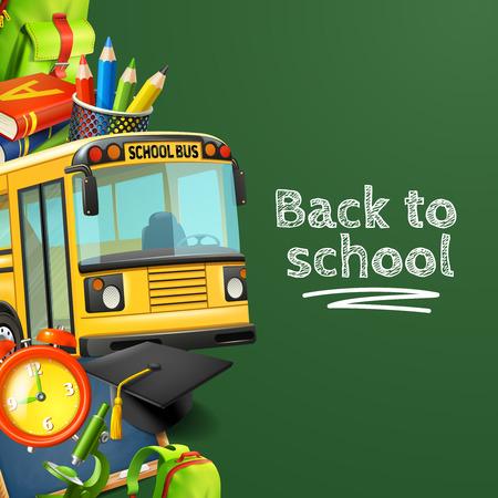 Terug naar school groene achtergrond met bus potloden boeken en klok realistische vectorillustratie