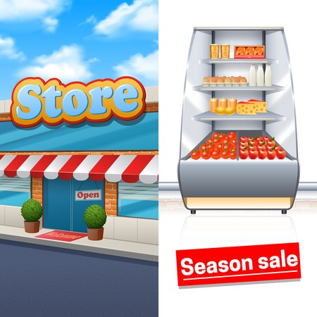 store front: Supermarket vertical banner set with store building and products shelf isolated vector illustration Illustration
