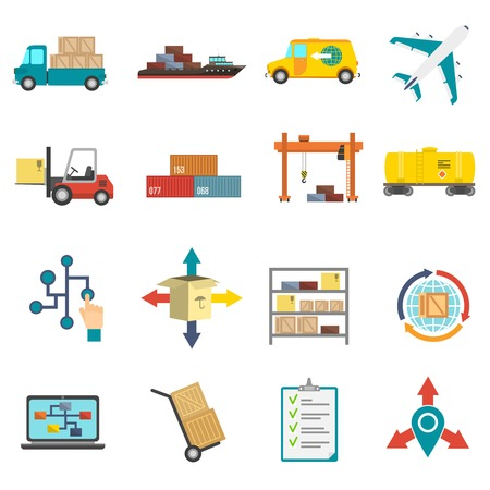 shipping supplies: Logistics transportation and delivery flat icons set isolated vector illustration Illustration