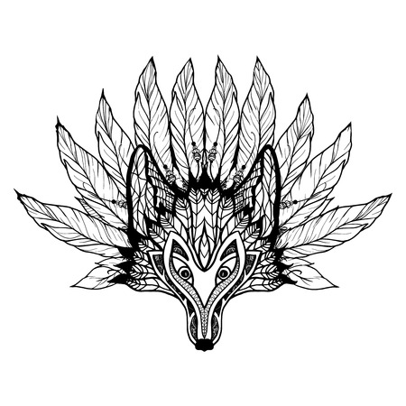 wild animal: Doodle wolf mask with decorative pattern and feathers vector illustration