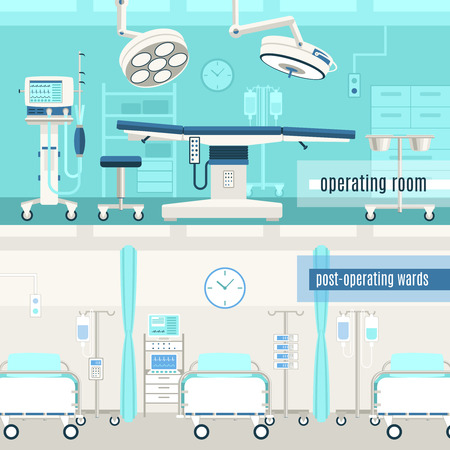surgery doctor: Medical hospital surgery operation room and post-operation ward concept  2 horizontal banners set abstract isolated vector illustration