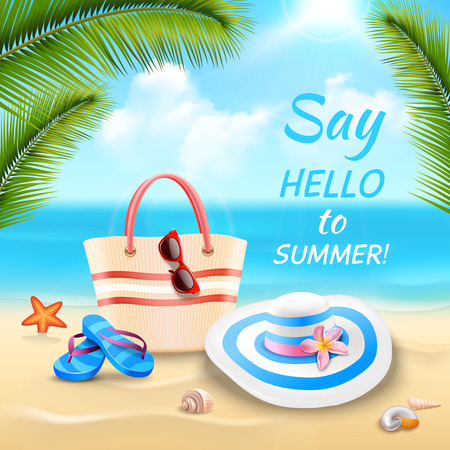 sand beach: Summer vacation background with beach bag hat and flip-flops on sand realistic vector illustration Illustration