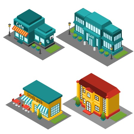 Cafe building isometric decorative 3d icons set isolated vector illustration