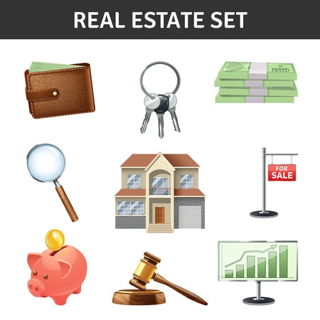 keys isolated: Real estate realistic icons set with house keys and money isolated vector illustration