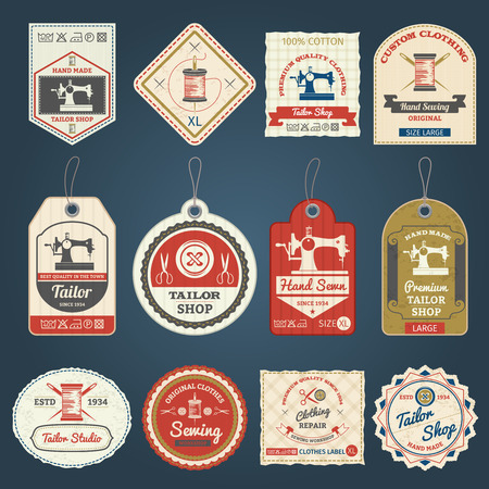 Premium-Schneiderei für maßgeschneiderte Kleidung Etiketten und Abzeichen Sammelproben vintage abstrakten isolierten Vektor-Illustration