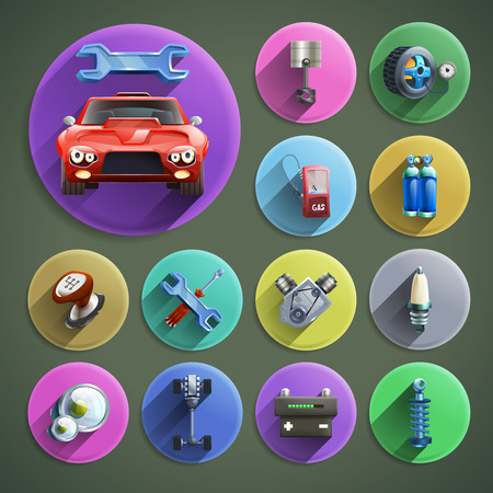 car tuning: Car repair cartoon round shadow icons set with service and spare parts on grey background isolated vector illustration
