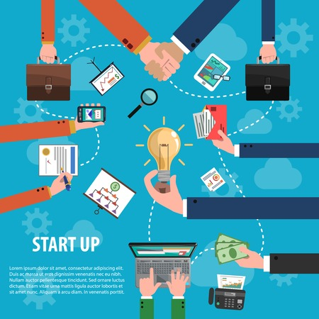 business idea: Start up idea concept with flat human hands holding business objects vector illustration Illustration
