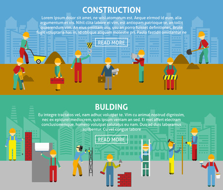 building color: Building and construction with workers and text flat color horizontal banner set isolated vector illustration